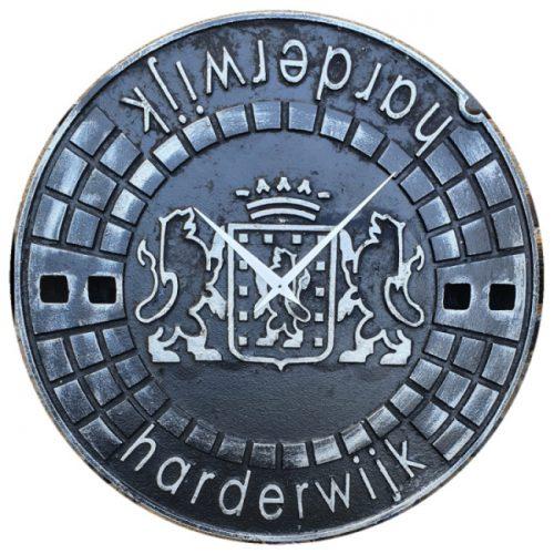 Putdekselklok Harderwijk Zwart/Zilver
